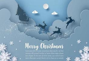 Christmas postcard banner Santa Claus and reindeer flying in the sky
