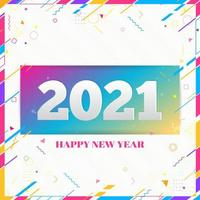 Creative Happy New Year 2021 design card on modern background