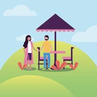 woman and man at park with umbrella table vector design