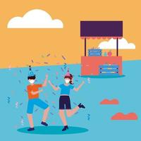People with medical masks and party hats at park with store vector design