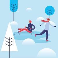 hombres en la nieve con diseño vectorial de trineo