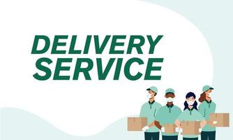 Delivery men and women with masks and boxes vector design