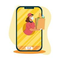 Delivery woman with mask and bag on smartphone vector design
