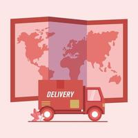 Delivery truck and map vector design