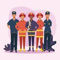 bomberos y policías hombres trabajadores diseño vectorial