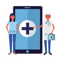online female and male doctor with smartphone vector design