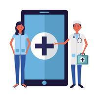 Médico femenino y masculino en línea con diseño vectorial de teléfono inteligente