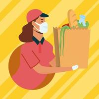 Delivery woman with mask and bag vector design