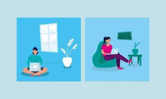 Las mujeres que usan el portátil en el sofá campaña para quedarse en casa.
