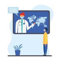 Doctor masculino en línea con máscara en tableta con mapa y diseño vectorial de cliente hombre