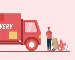 Delivery truck and man with boxes on cart vector design