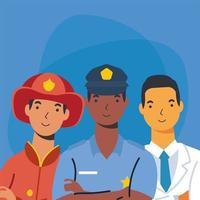 bombero policía y médico hombre trabajador diseño vectorial