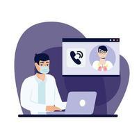 Doctor masculino en línea con máscara y diseño vectorial portátil
