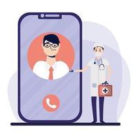 Doctor masculino en línea con máscara y cliente con frío en diseño vectorial de teléfono inteligente