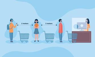 Social distancing between boys and girl with masks and carts vector design