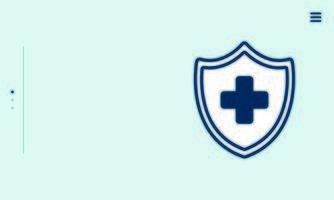 Cruz médica en escudo icono aislado