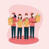 Repartidores de hombres y mujeres con máscaras y bolsas de diseño vectorial