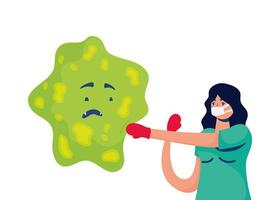 professional female doctor boxing with bacterium