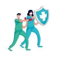 Pareja de médicos profesionales de boxeo con guantes y escudo