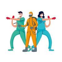 Pareja de médicos profesionales de boxeo con guantes y trabajador de bioseguridad