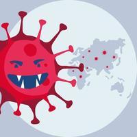 partícula pandémica covid19 con mundo planeta tierra