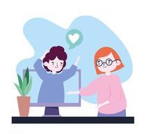 fiesta en línea, reunión de amigos, pareja en cita romántica por computadora, mantén la distancia durante el covid 19