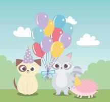 feliz cumpleaños, lindo perro mapache celebración decoración dibujos animados
