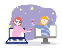 fiesta en línea, reunión de amigos, mujeres con copas de vino celebrando en una conexión de computadora