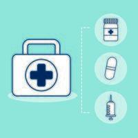 bundle of medical set icons vector
