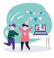 fiesta en línea, reunirse con amigos, hombres jóvenes con sombreros y gente en la computadora portátil conectada celebrando