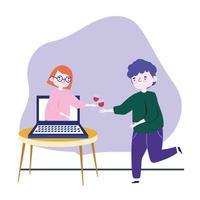 Fiesta en línea, reunión de amigos, hombre con copa de vino celebrando con mujer en videollamada en portátil