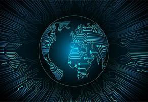 Fondo de holograma azul futuro y tecnología con mapa del mundo vector