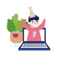 online party, meeting friends, man on video laptop celebrating with glass of wine