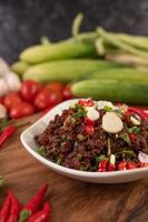 Spicy minced meat meal in a dish