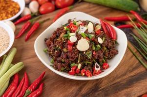 Spicy minced meat meal in a bowl
