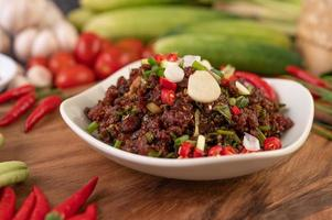 Colorful spicy minced meat