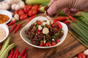 Colorful spicy minced meat in a bowl
