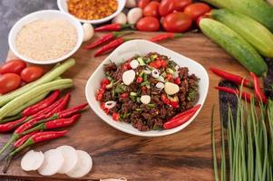 Spicy minced meat from raw meat