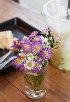 Purple flowers in a vase photo
