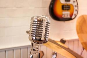 Vintage silver microphone photo