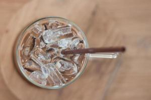 Close-up of a top of iced coffee
