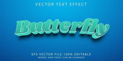 efecto de texto mariposa vector