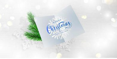 Merry Christmas and Happy New Year card and branches background. vector