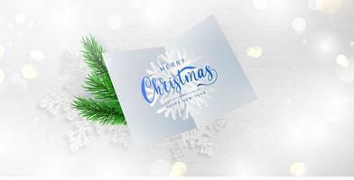 Feliz Navidad y feliz año nuevo tarjeta y fondo de ramas. vector