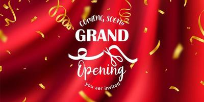 Red curtain background. Grand opening event design. vector