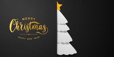Merry Christmas and Happy New Year white tree background. vector