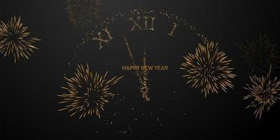 Feliz año nuevo 2021 fondo de reloj de fuegos artificiales. vector