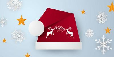 Merry Christmas and New Year Xmas background with red santa hat vector