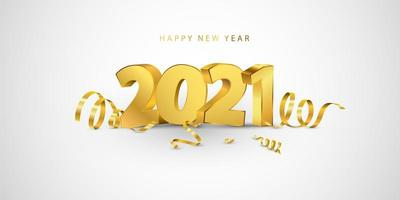 Happy New Year 2021 background. Greeting card design template with gold confetti. Celebrate brochure or flyer.