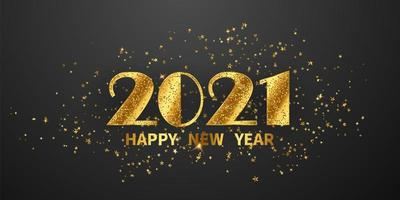 2021 Happy New Year Gold Background vector